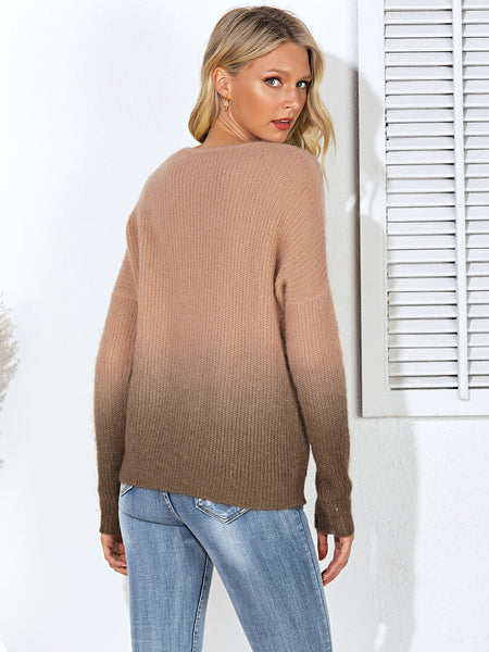 Brown Ombre/tie-Dye Long Sleeve Shift Sweater