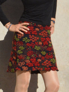Red Paneled Floral Wool Blend Casual Skirts