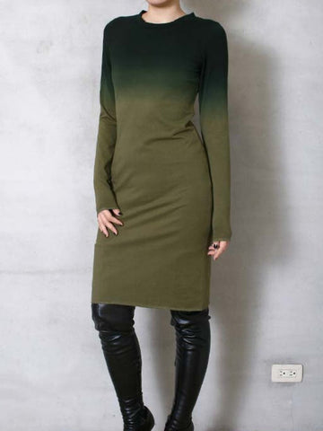 Crew Neck Long Sleeve Cotton-Blend Dresses
