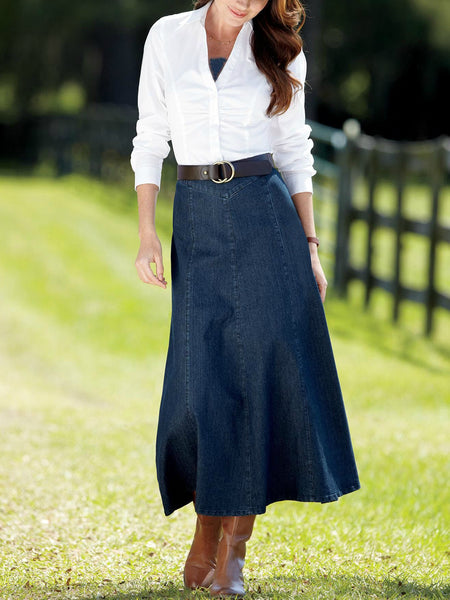 Plus Size Denim Solid Skirts