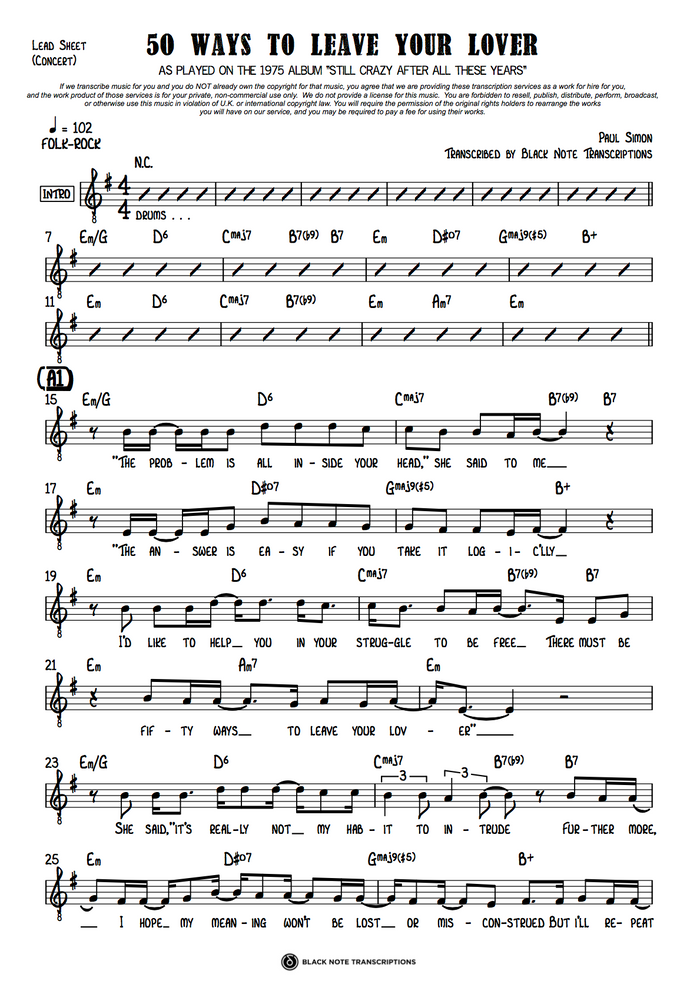 50 Ways To Leave Your Lover - Concert Lead Sheet (PREVIEW)