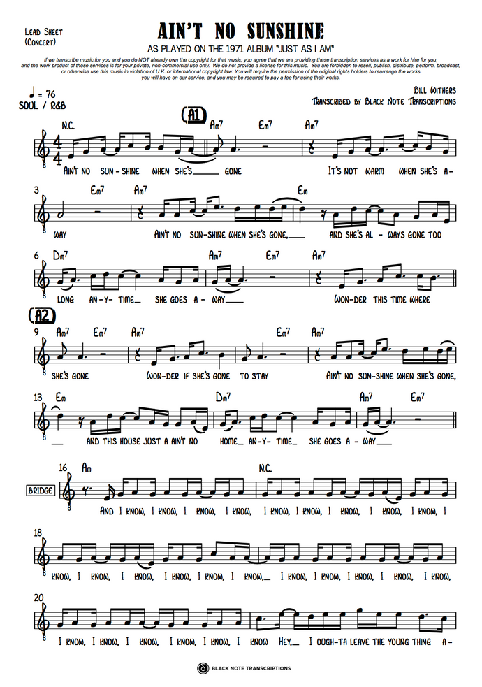 Ain't No Sunshine - Concert Lead Sheet (PREVIEW)