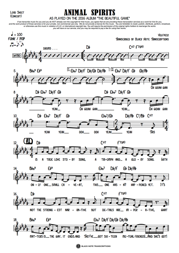Animal Spirits - Concert Lead Sheet (PREVIEW)