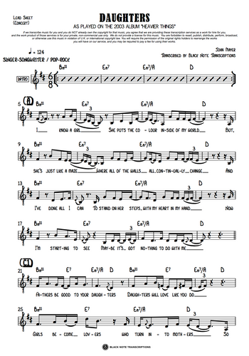 Daughters - Concert Lead Sheet (PREVIEW)