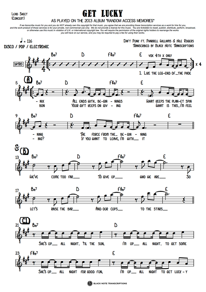 Get Lucky - Concert Lead Sheet (PREVIEW)