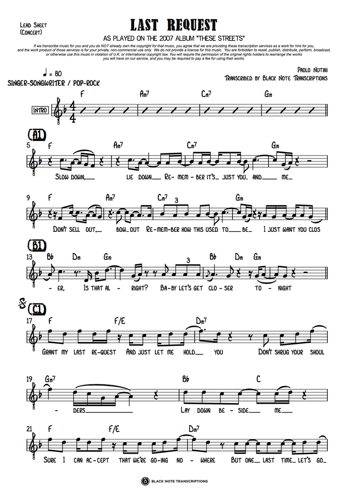 Last Request - Concert Lead Sheet (PREVIEW)