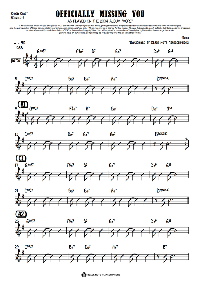 Officially Missing You - Concert Chord Chart (PREVIEW)