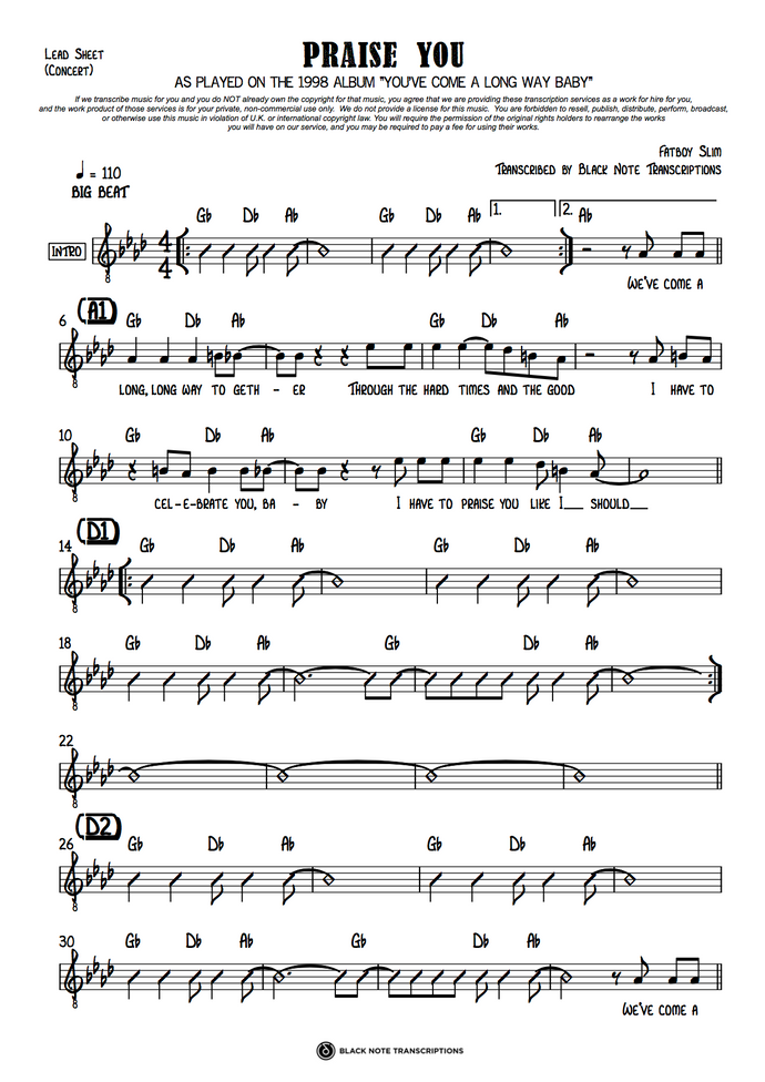 Praise You - Concert Lead Sheet (PREVIEW)