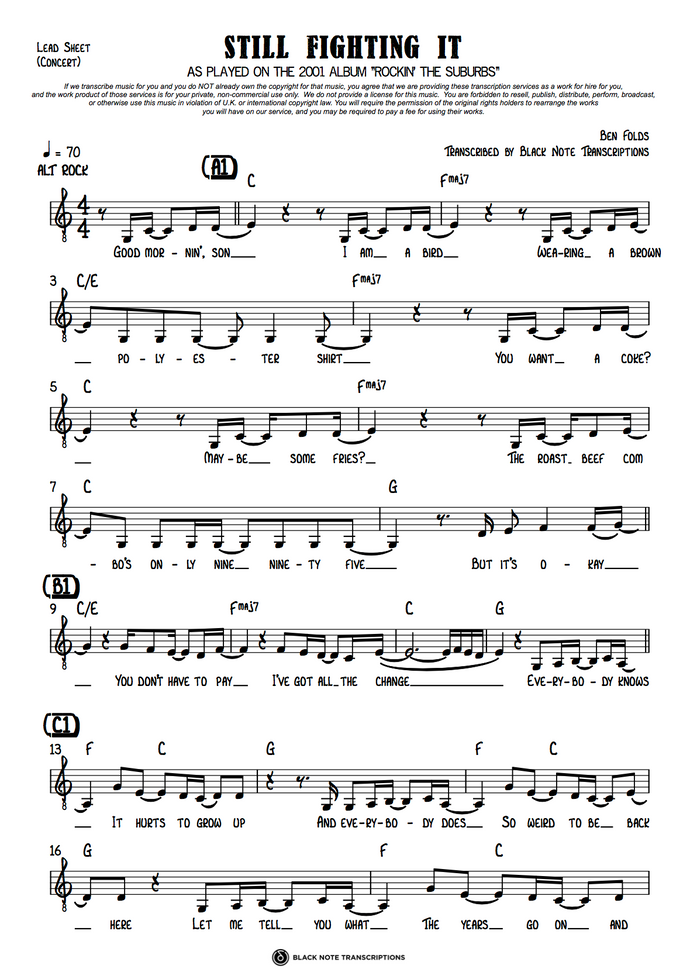 Still Fighting It - Concert Lead Sheet (PREVIEW)