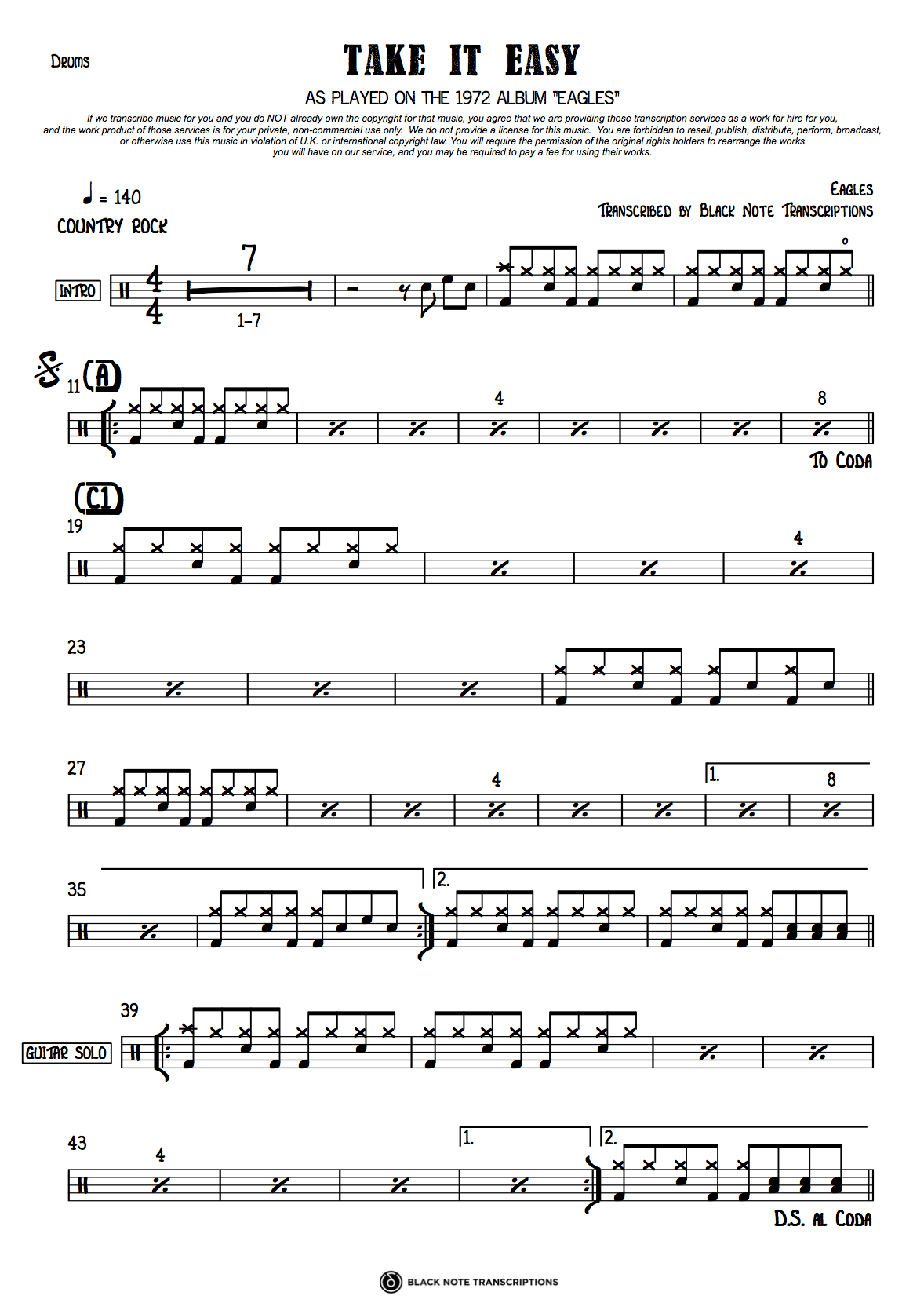 Take It Easy - Eagles (DRUMS) – Black Note Transcriptions