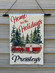 Home for the Holidays Personalized Garden Flag