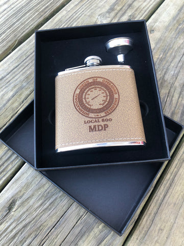 Leather Flask Engraved Customized