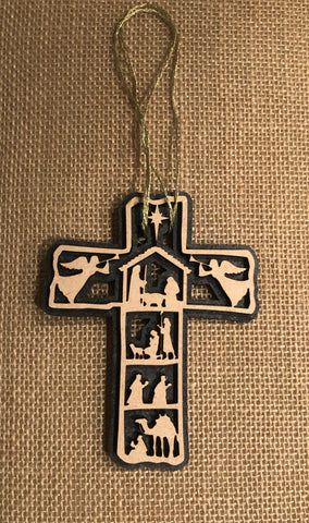 Nativity Scene Cross Ornament