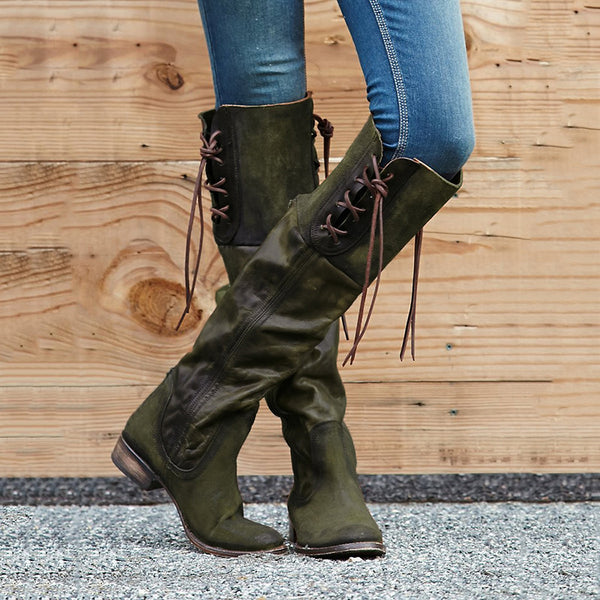 34158494aa0ee Lace-up Low Heel Boots Vintage PU Winter Boots with Back Zippers ...