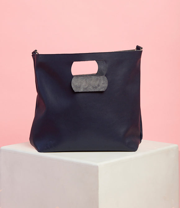 Navy Leather Handbag - The Bigger Size