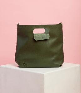 Emerald Green Leather Handbag - The Bigger Size