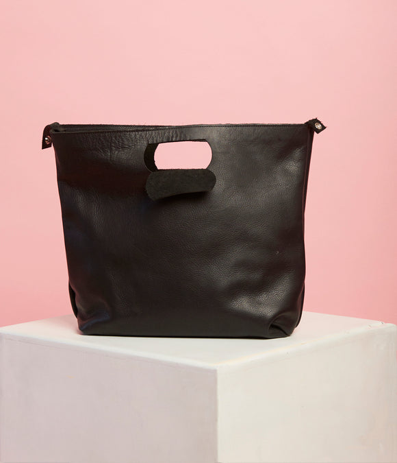 Black Leather Handbag - The Bigger Size