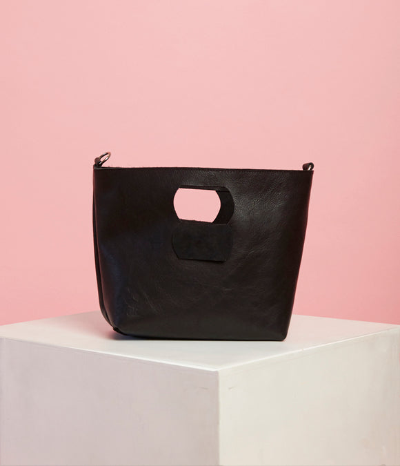 Black Leather Handbag - The Smaller Size