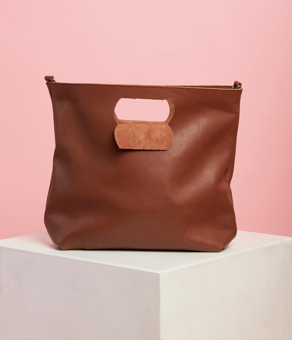 Brown Leather Handbag - The Bigger Size