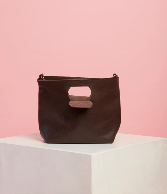Choc Brown Leather Handbag - The Smaller Size