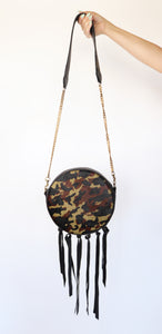 Circular Leather Handbag with Tassels in Camo Print