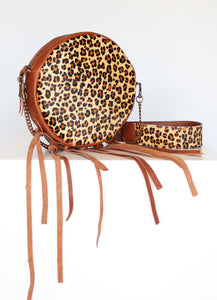 Circular Leather Handbag with Tassels in Leopard Print