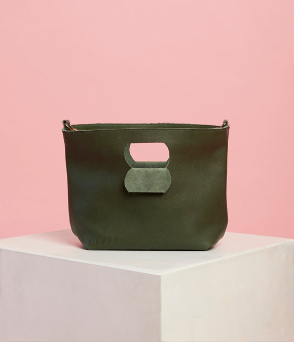 Emerald Green Leather Handbag - The Smaller Size