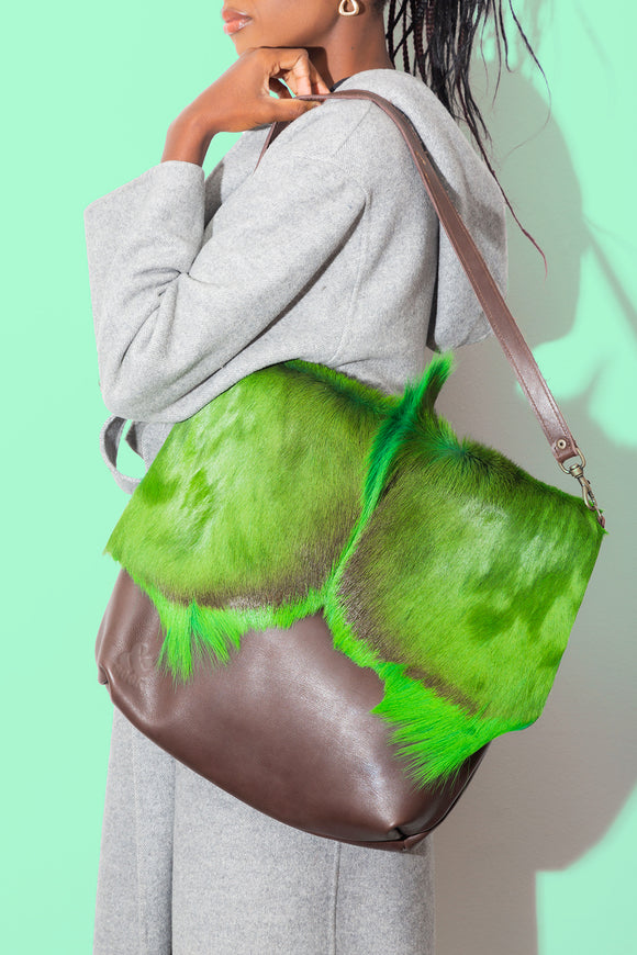 Neon Green Springbok WATEVR Handbag - The Bigger Size