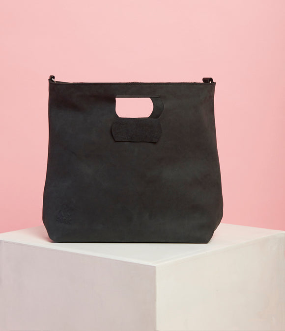 Matte Black Leather Handbag - The Bigger Size