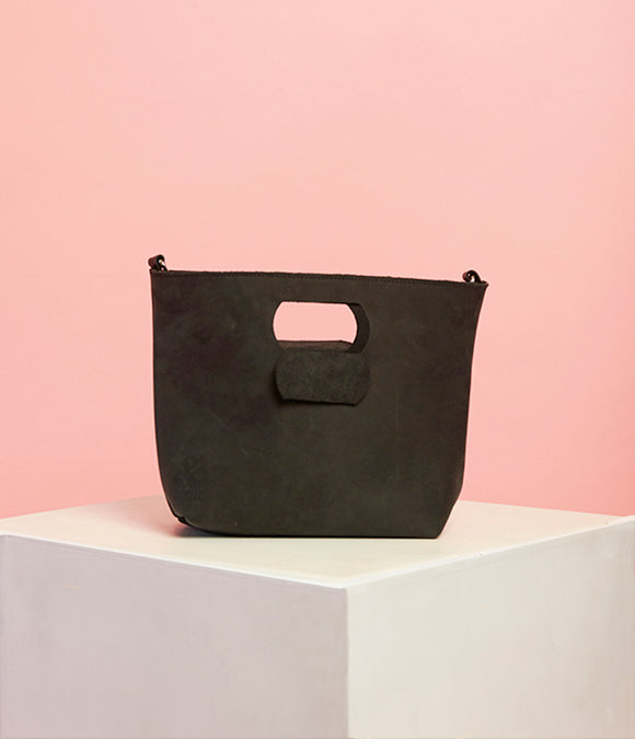 Matte Black Leather Handbag - The Smaller Size