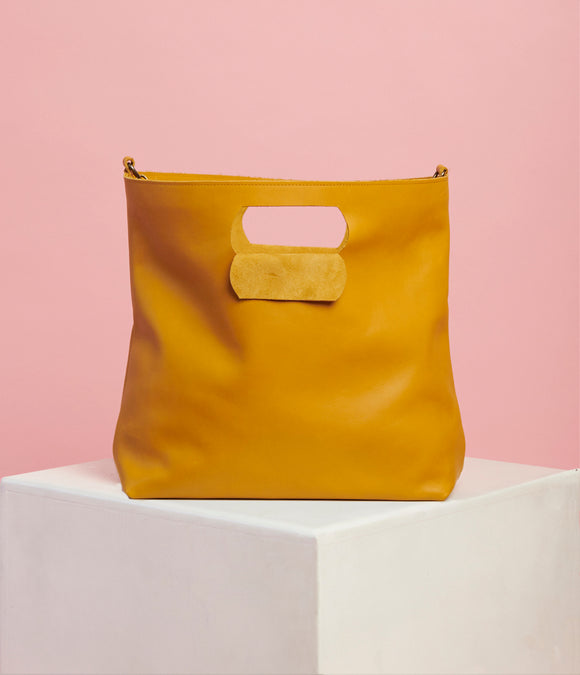 Mustard Leather Handbag - The Bigger Size