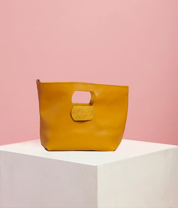 Mustard Leather Handbag - The Smaller Size