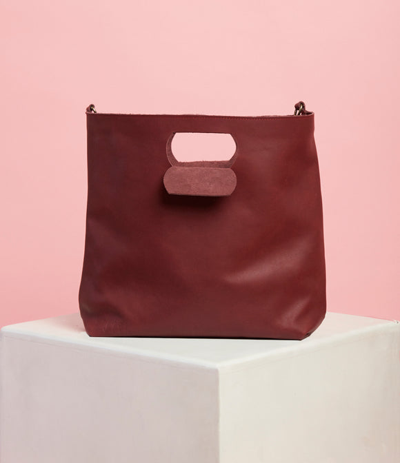 Plum Leather Handbag - The Bigger Size