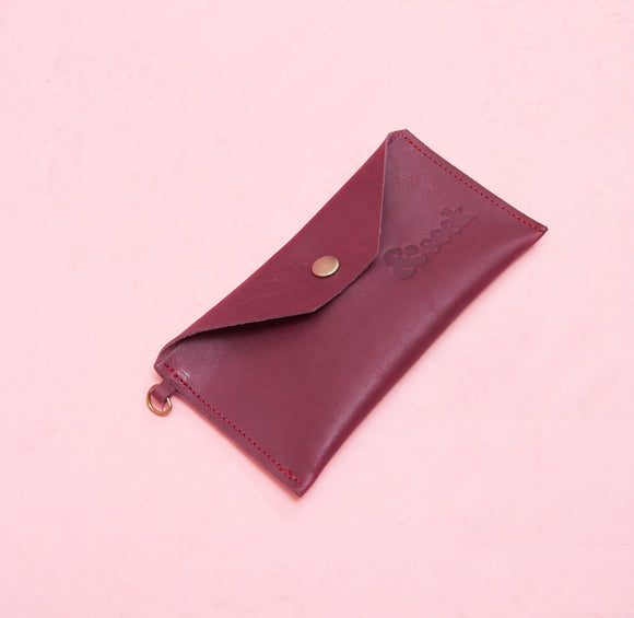 Plum Leather Pouch