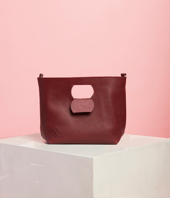Plum Leather Handbag - The Smaller Size