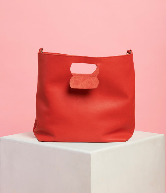 Red Leather Handbag - The Bigger Size