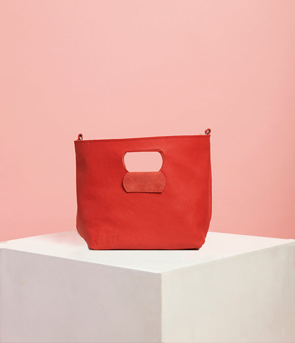 Red Leather Handbag - The Smaller Size