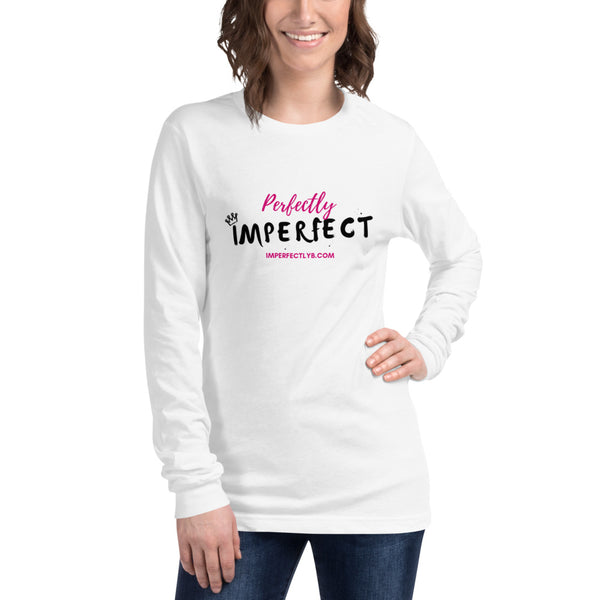 Perfectly Imperfect Long Sleeve Unisex White/Grey (Athletic Heather) T-Shirt