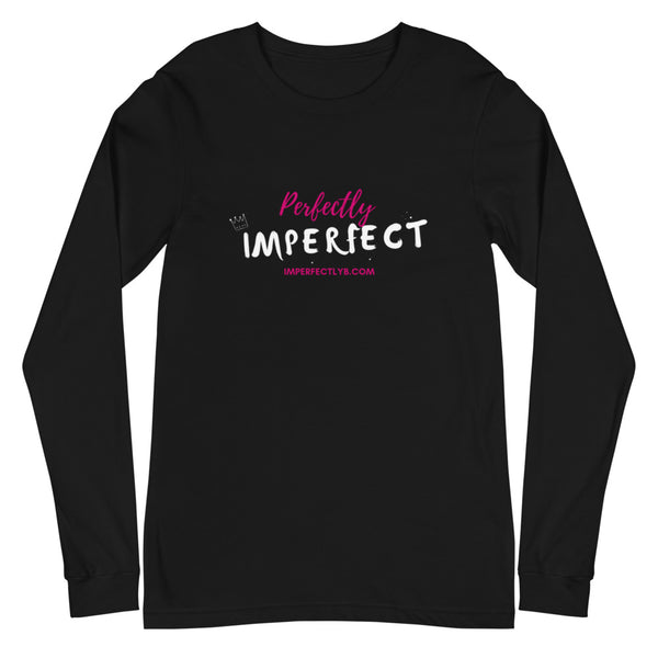 Perfectly Imperfect Long Sleeve Unisex Black T-Shirt
