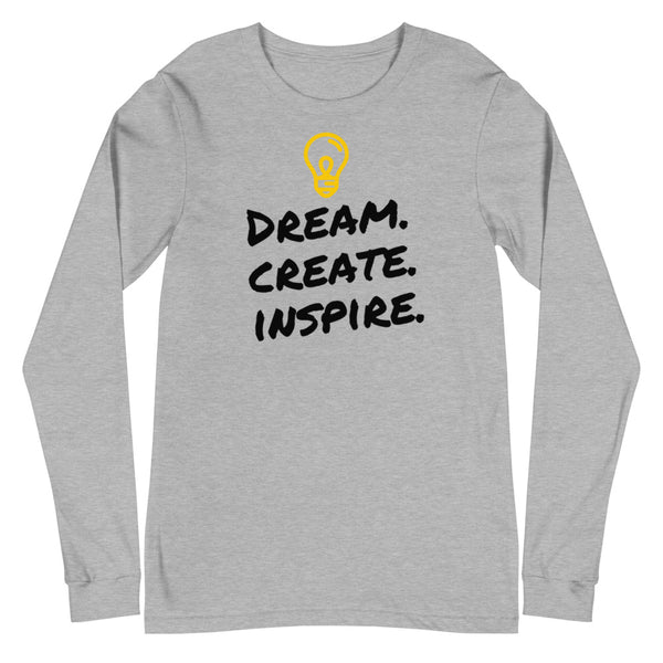 Dream. Create. Inspire. Unisex Long Sleeve Tee (White/Grey)