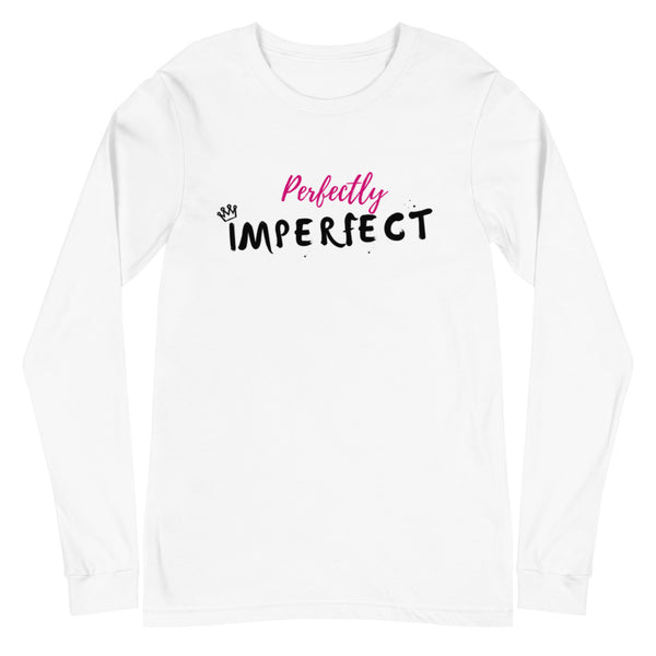 Perfectly Imperfect Unisex Long Sleeve Tee (White/Grey)