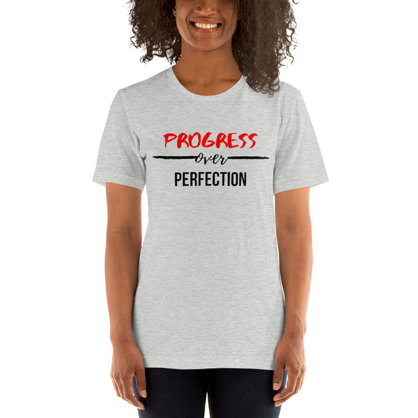 Progress Over Perfection Short-Sleeve Unisex T-Shirt (White/Grey)