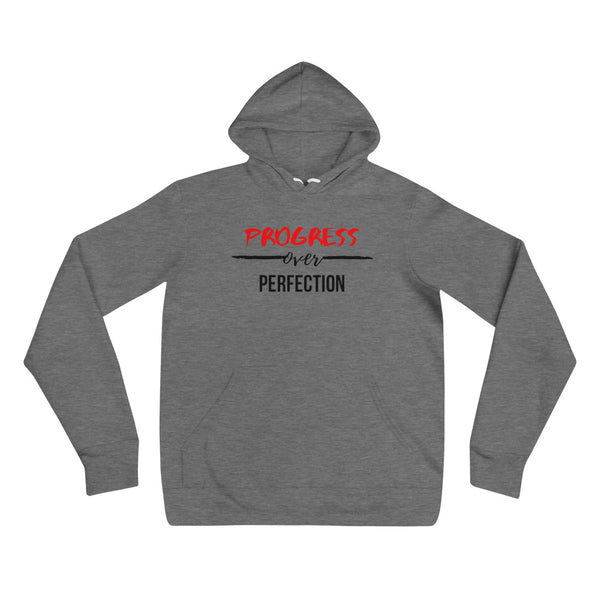 Progress Over Perfection Unisex White/Grey Hoodie