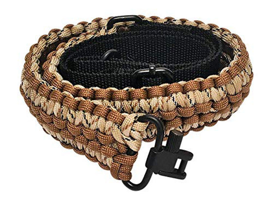 Ten Point Gear Extra Wide Gun Sling Paracord 550 Adjustable w/Swivels (Brown & Tan Camo)