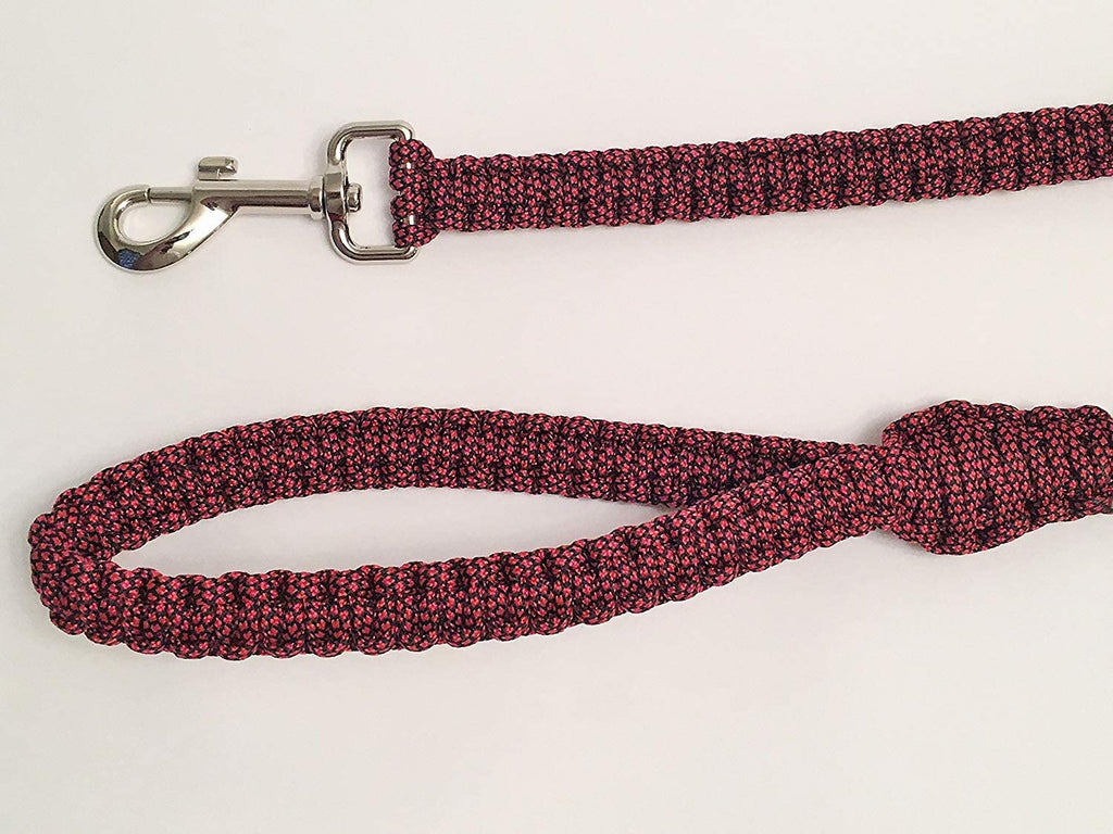 Ten Point Gear 6 Feet Long Nylon Durable & Comfortable Paracord Dog Leash with Strong Metal Clasp (Red Fleck)