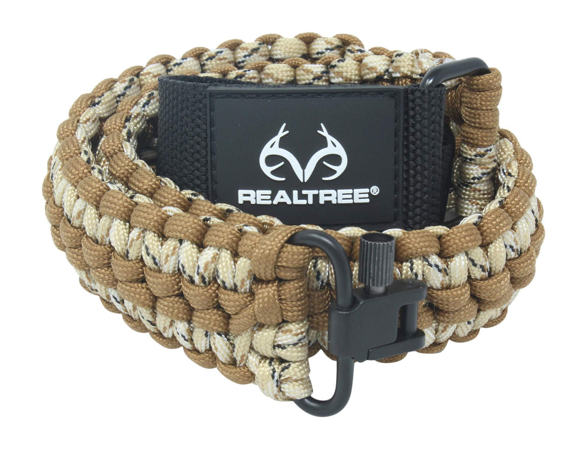 Realtree® Extra Wide Gun Sling Paracord 550 Adjustable w/Swivels (Brown & Tan Camo)