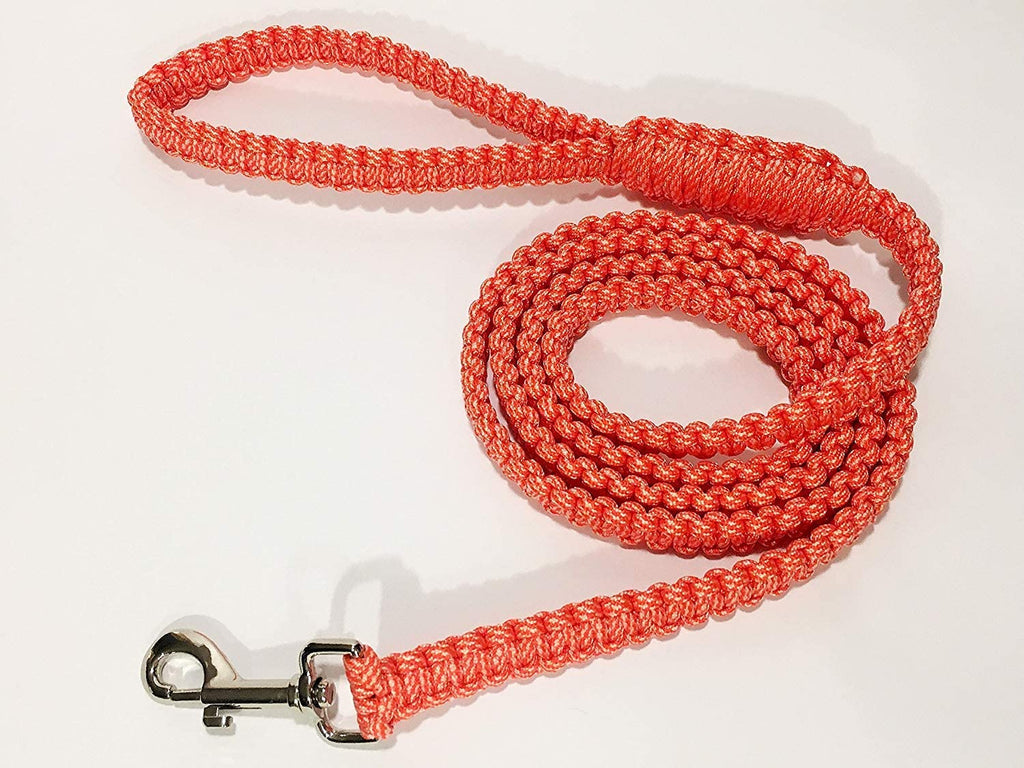 Ten Point Gear 6 Feet Long Nylon Durable & Comfortable Paracord Dog Leash with Strong Metal Clasp (Salmon Run)