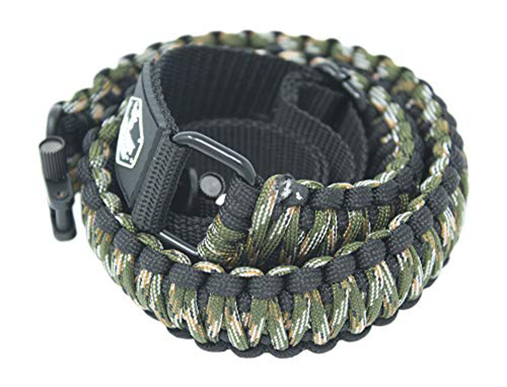 Ten Point Gear Gun Sling Paracord 550 Adjustable w/Swivels (Black & Dark Green Camo)