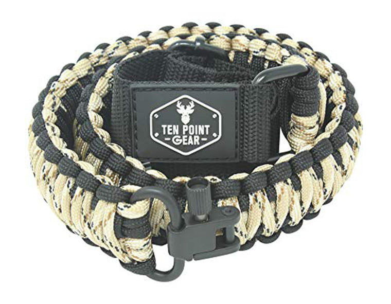 Ten Point Gear Gun Sling Paracord 550 Adjustible w/Swivels (Black & Tan Camo)