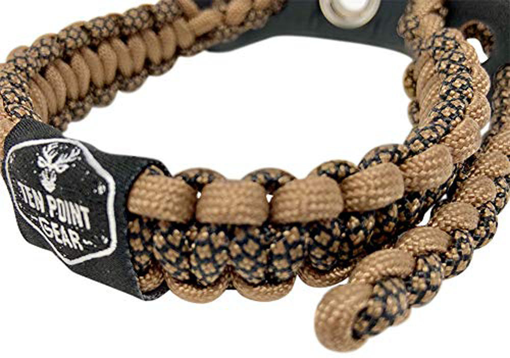 Ten Point Gear Bow Archery Wrist Sling 550 Paracord - Survival Hunting Shooting - Durable Leather with Metal Grommet (Timber Terror Camo)